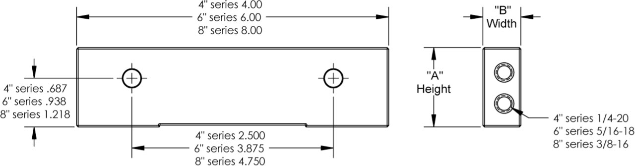 """4MAJ-150 4"""" Aluminum 1-1/2 x 3/4"""