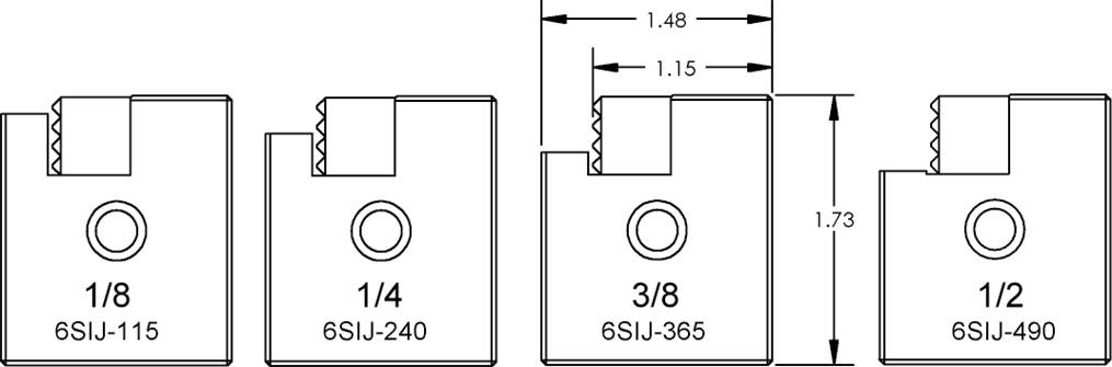 """6SIJ-365 6"""" Serrated Step Jaw 3/8 Step"""